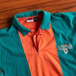Vintage 90s NFL Miami Dolphins Striped Polo Shirt